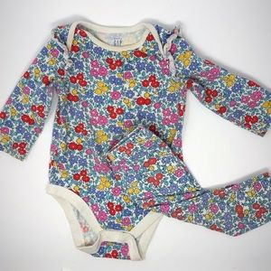 Baby girl floral long-sleeve bodysuit and pants